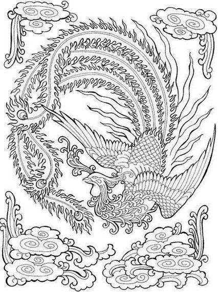 Phoenix Bird Coloring Pages For Adults