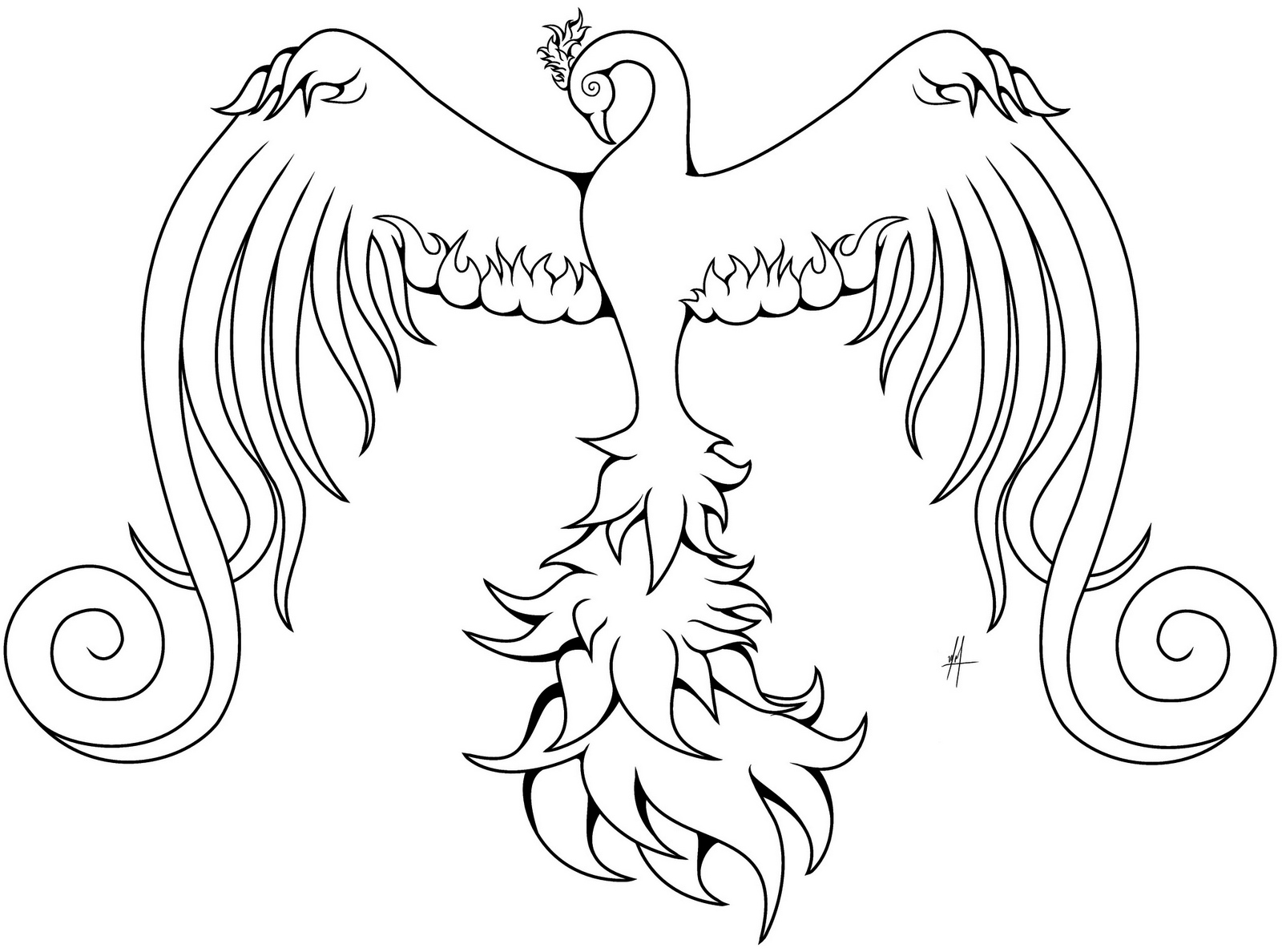 Phoenix Bird Coloring Sheet For Free