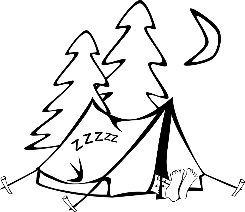 Printable Tent Coloring Page Camping Colouring Sheet