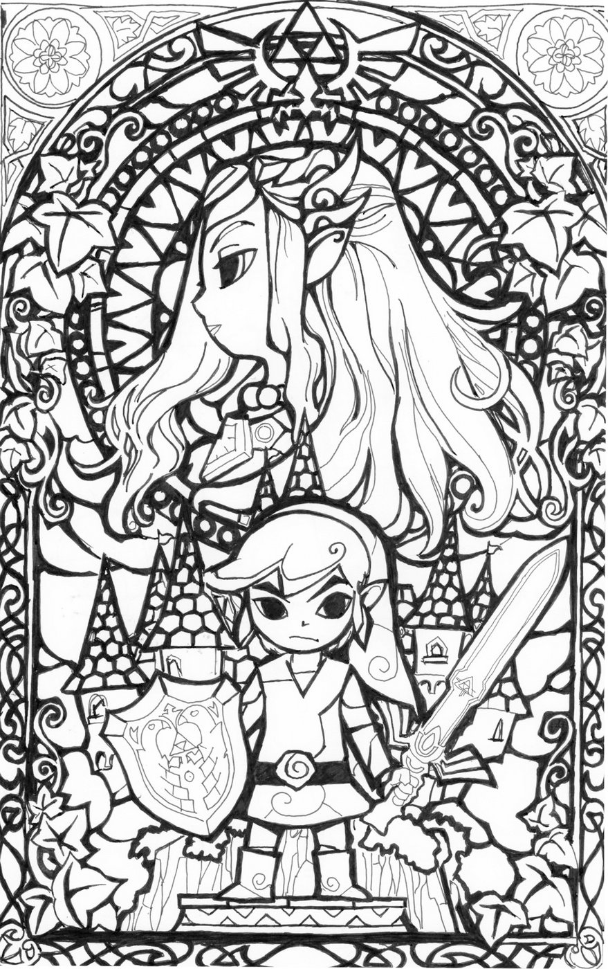 Stained Glass The Legend Of Zelda Coloring Page To Print