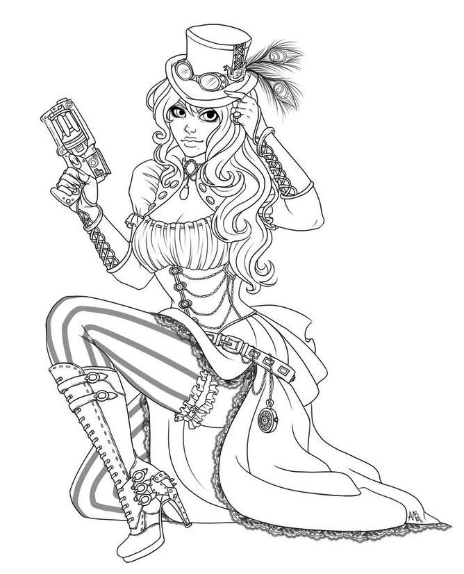 Steampunk Coloring Page To Print