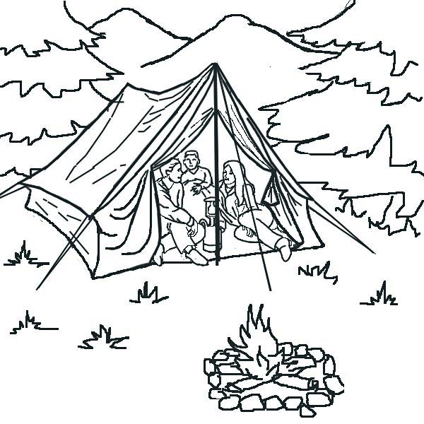 Tent In Forest Coloring Page