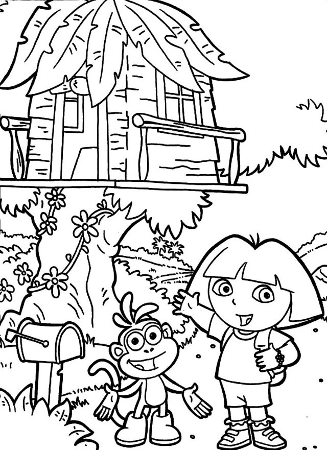 Tree House Dora The Explorer Coloring Page