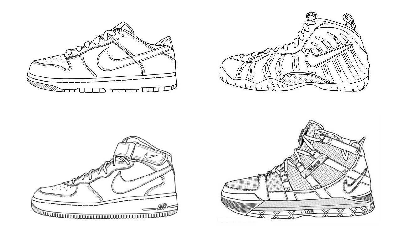 Kinds Of Nike Shoes Coloring Page