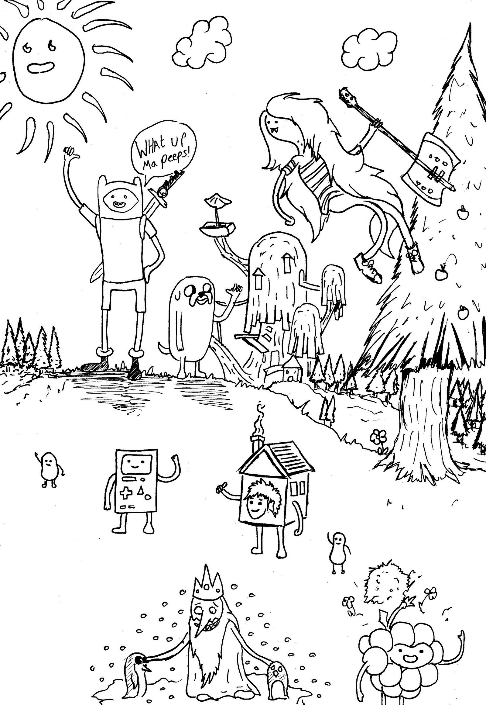 Adventure Time Doodle Cartoon Network Coloring Page
