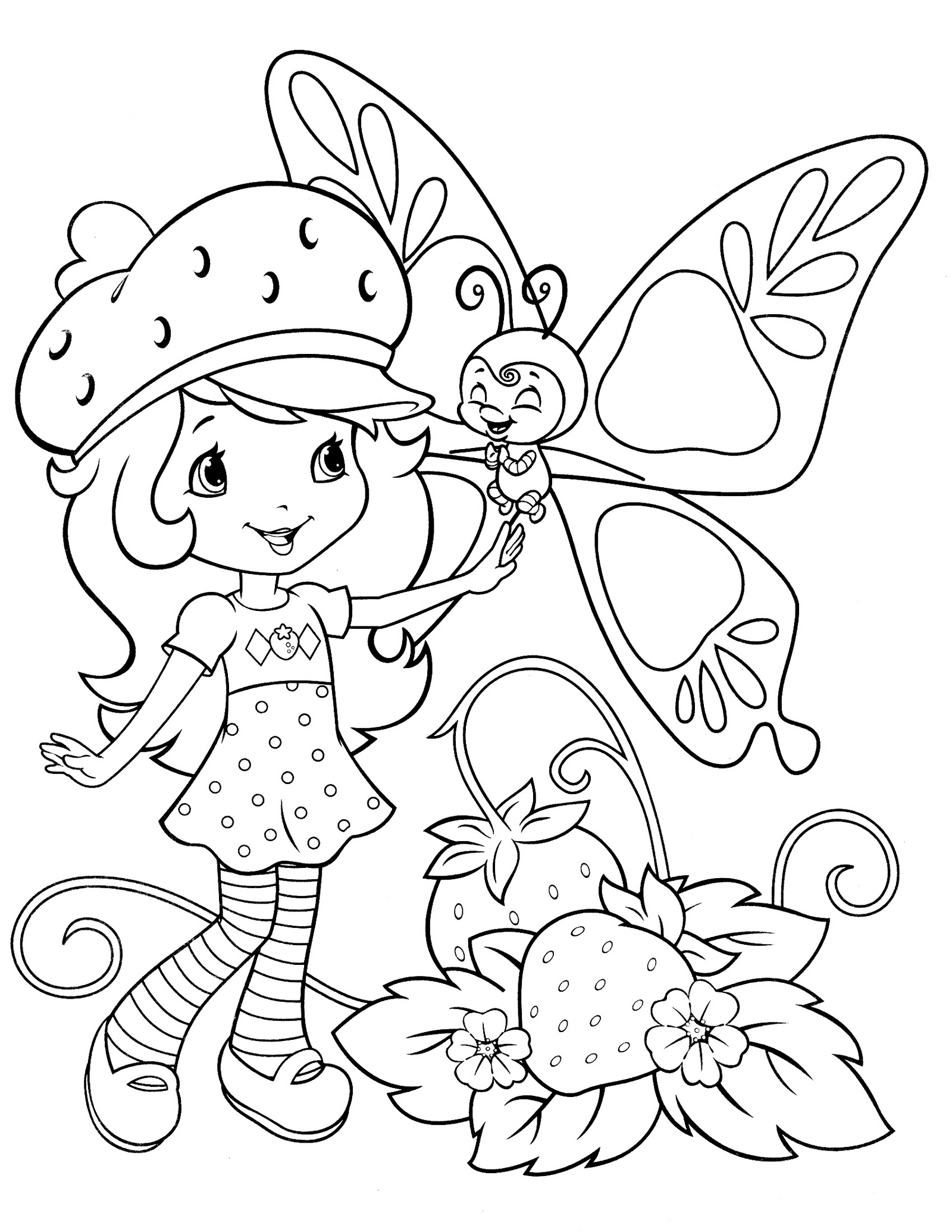 Berry Bitty And Butterfly Coloring Page