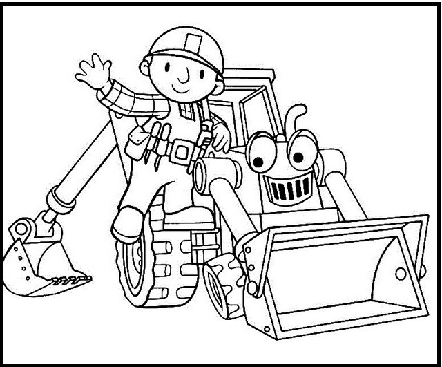 bob the builder coloring bob and his machines colouring page