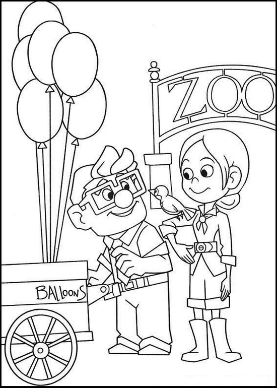 carl fredricksen from up movie coloring page