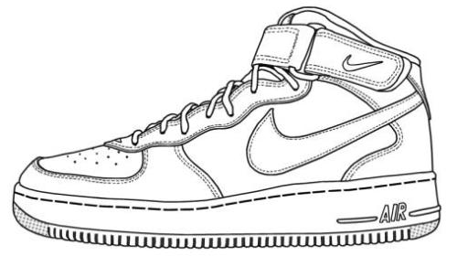 Elegant Nike Air Force Shoes Coloring Sheet
