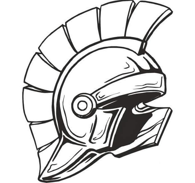 Helmet Spartan Coloring Page