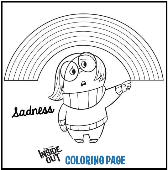 inside out coloring pages sadness and rainbows