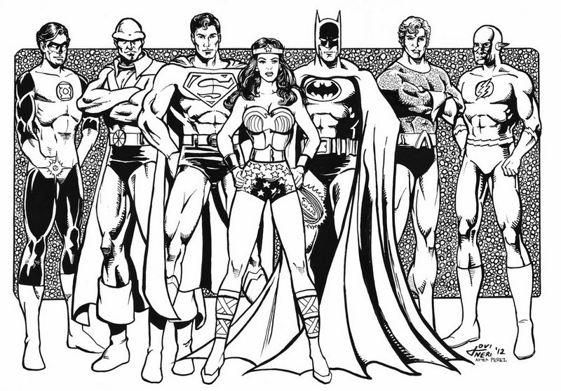Justice League Superheroes Coloring Page