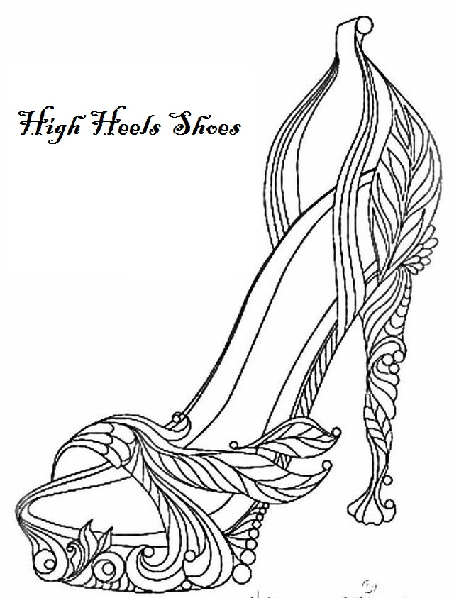 Modern High Heels Coloring Page Shoes