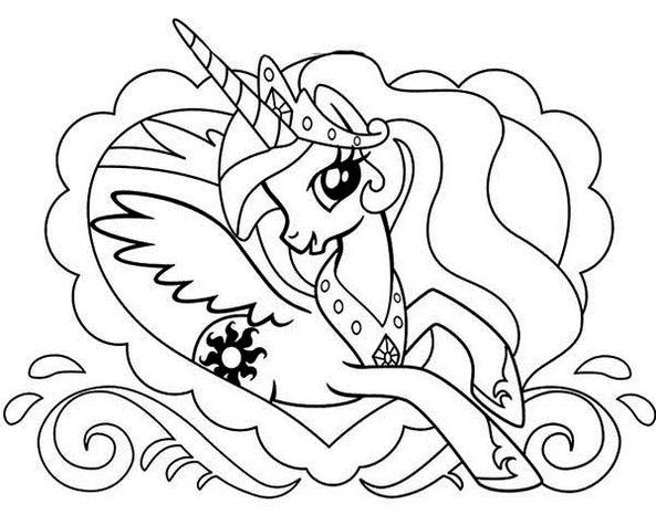 Princess Celestia Alicorn Pony Coloring Pages