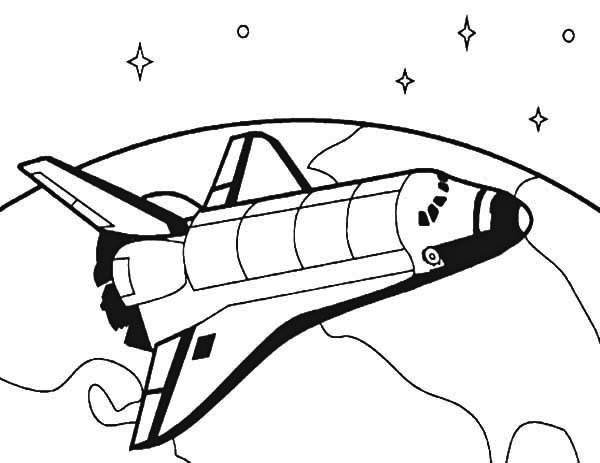 Rocket Travel Around The World Coloring Sheet