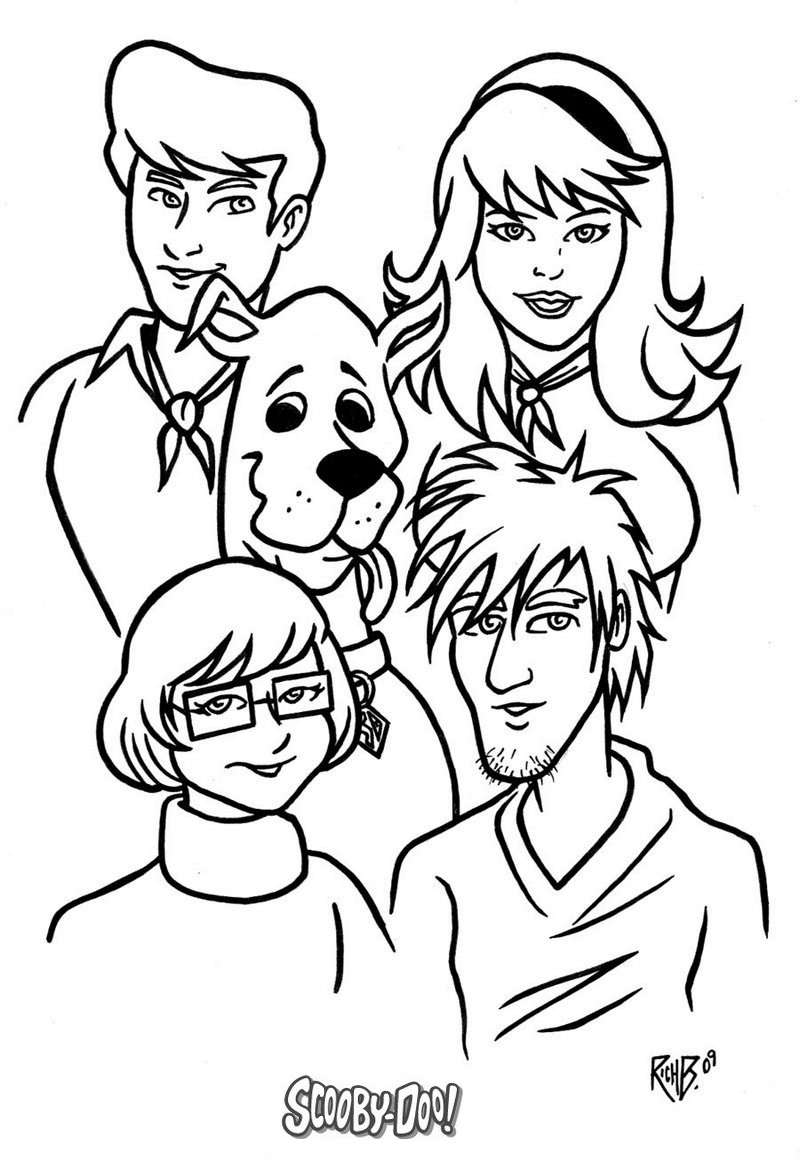 scooby doo characters coloring page