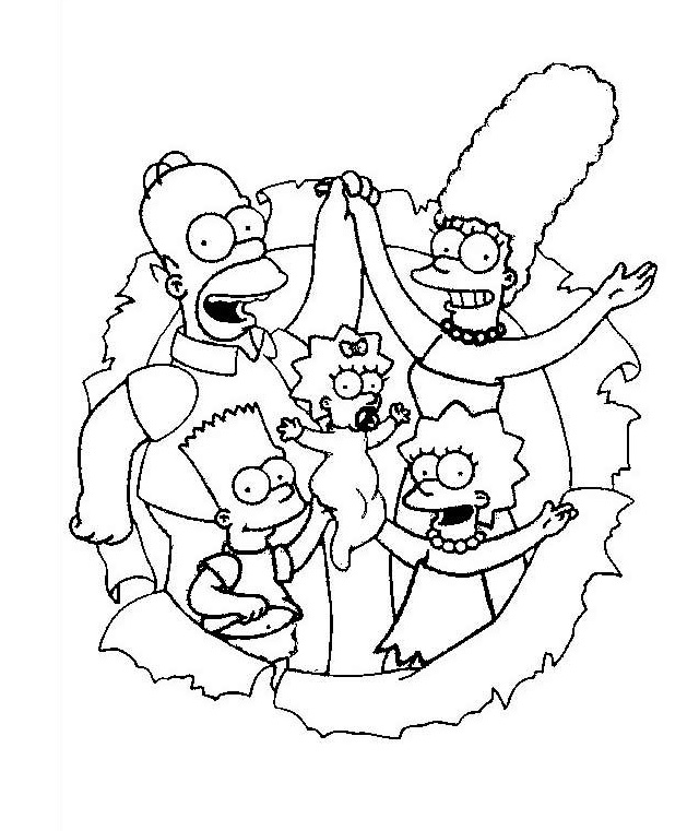the simpsons family coloring sheet