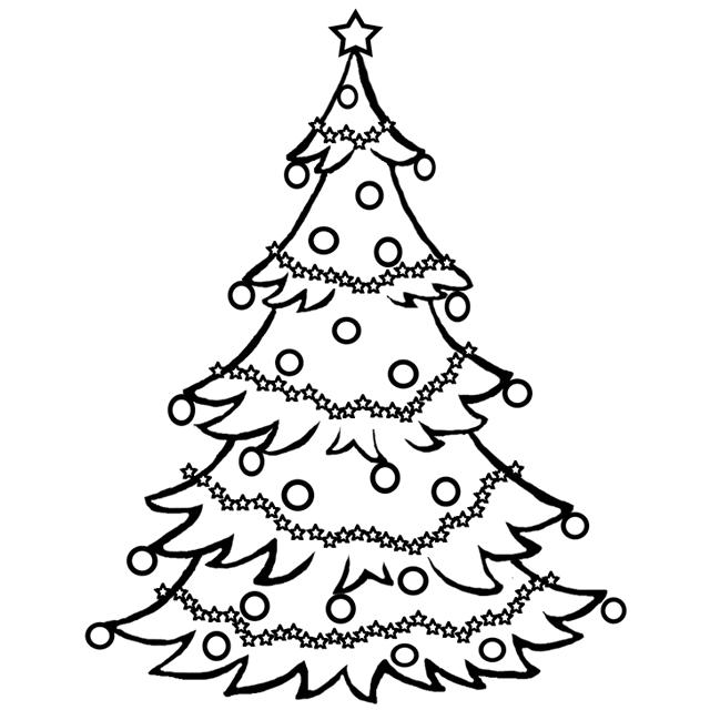 xmas tree coloring page printable