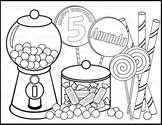 Yummy Candy Coloring Sheet For Birthday Celebration