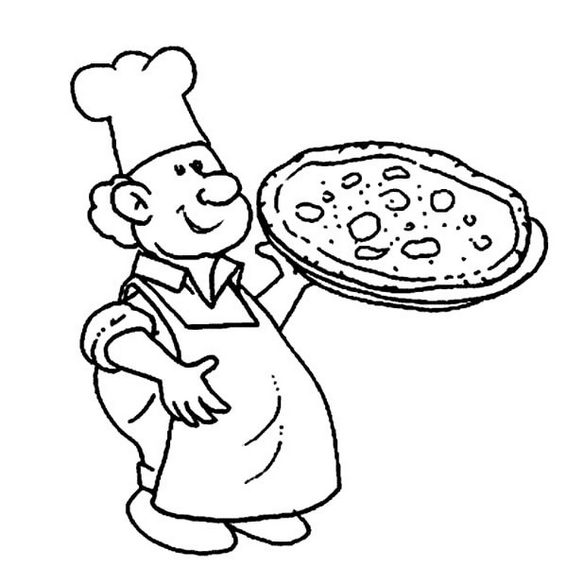 Chef Making Pizza Coloring Pictures