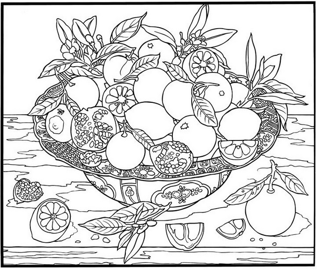 Citrus in Basket Coloring Pages