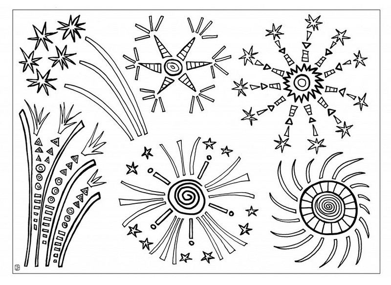 Fireworks to celebrate happiness Coloring Sheet