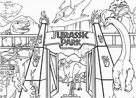 Jurassic park with dino coloring sheet