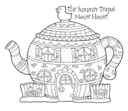 Teapot coloring printable page