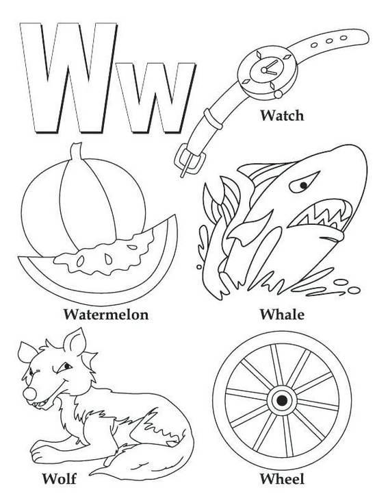 W alphabet atoz coloring book