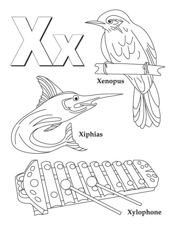 X alphabet atoz coloring page for kids