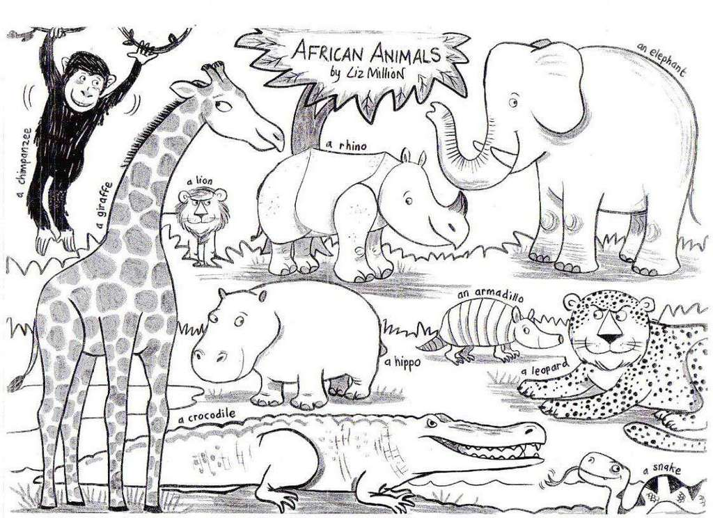 african animal species coloring sheet
