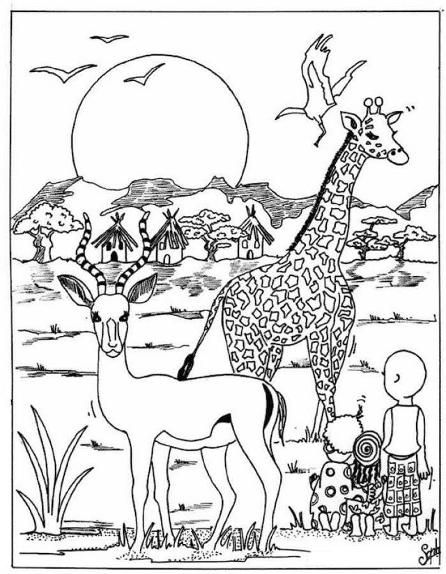 african animals with savana background coloring book
