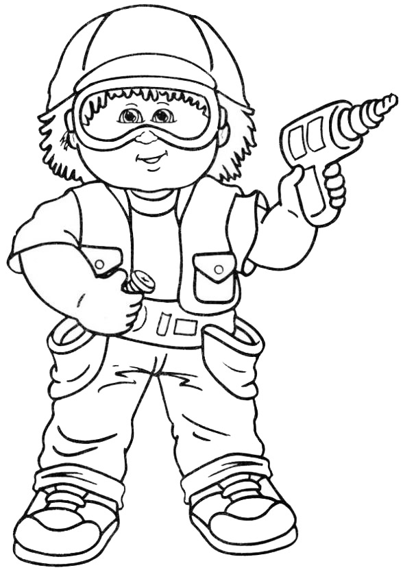 architect and tool coloring page