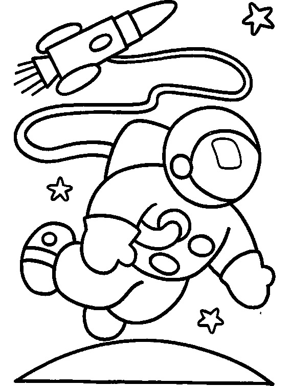 astronaut and rocket coloring printable page