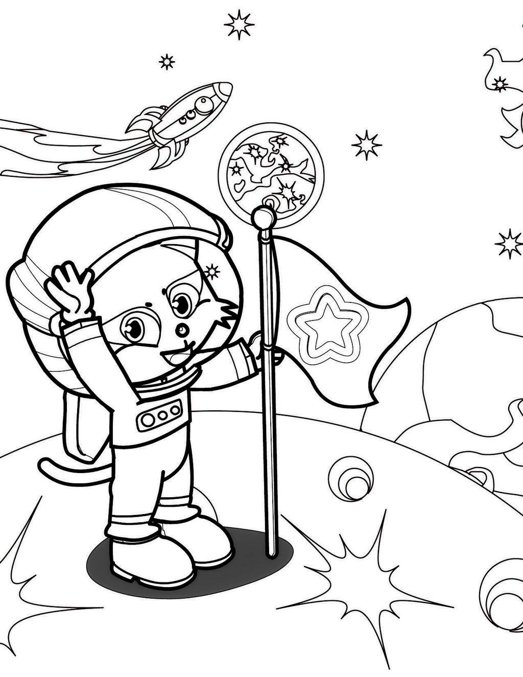 astronaut on the moon coloring picture for boys and girls