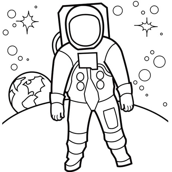 astronaut stars and planets coloring pictures