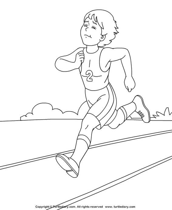 athlete running coloring and activity page