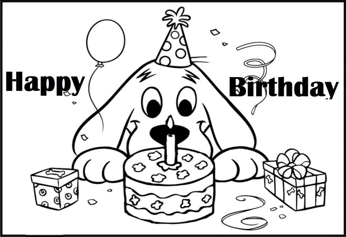 clifford birth day themed coloring pages