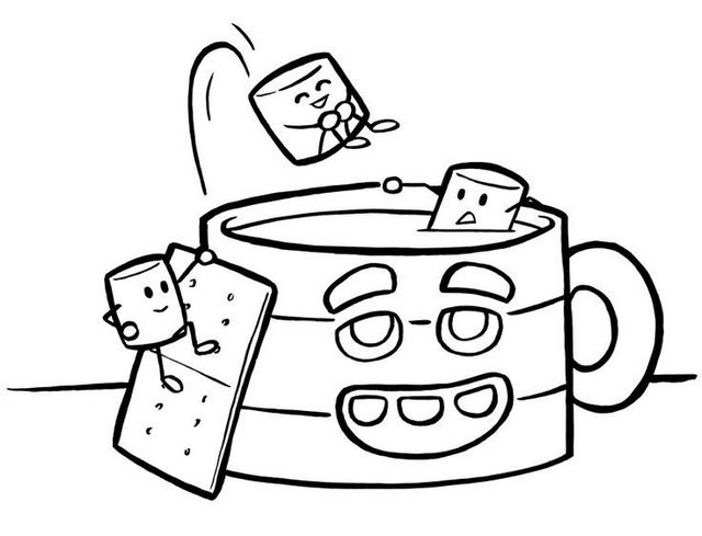 cup of hot chocolate coloring page