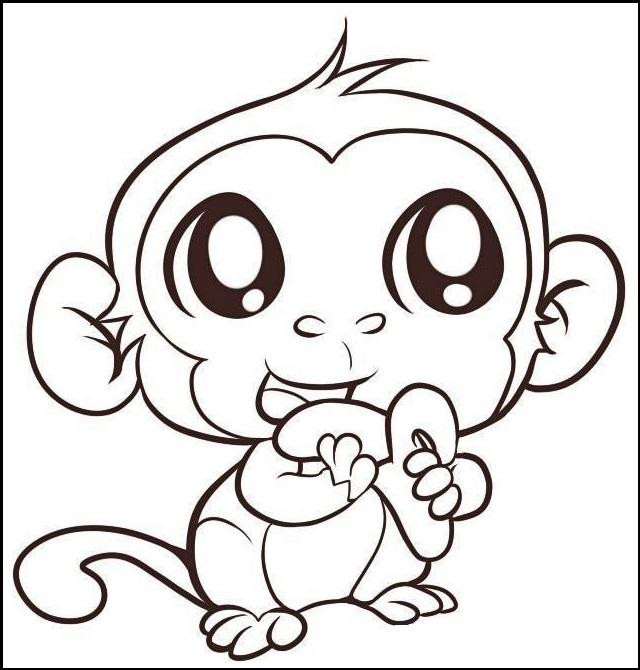 cute baby monkey animal coloring sheet