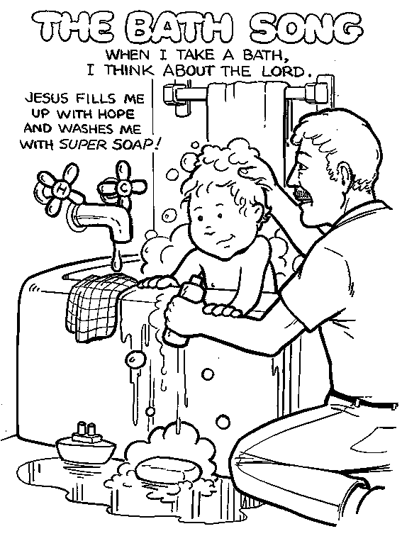 father showering kids in bathroom coloring page