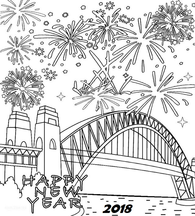 fireworks happy new year coloring page