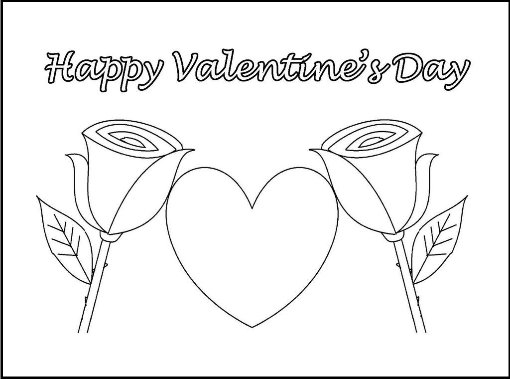 happy valentine day flower coloring and drawing sheet with gift card