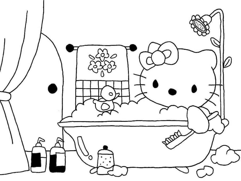 hello kitty bathroom coloring picture