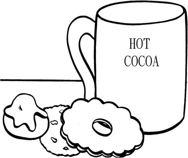 hot chocolate with biscuits coloring picture