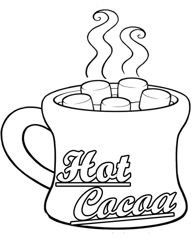 hot cocoa mug coloring sheet
