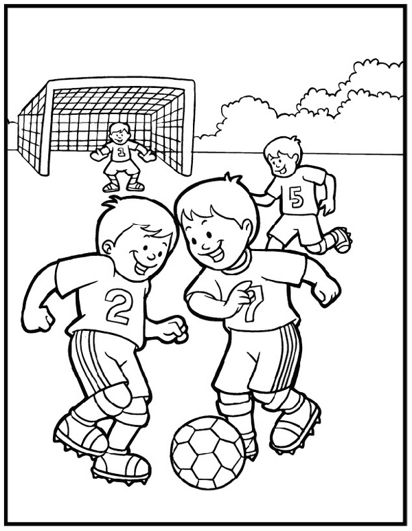 kids playing soccer ball coloring and activity page