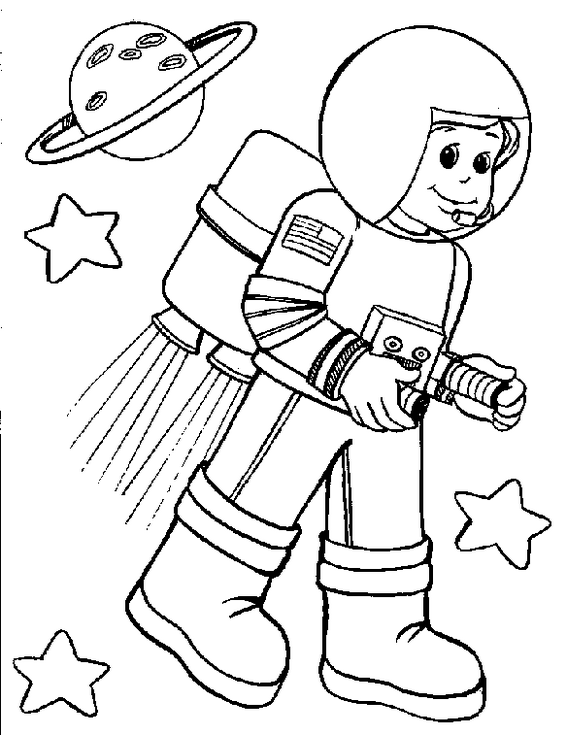 little astronaut and planet coloring book