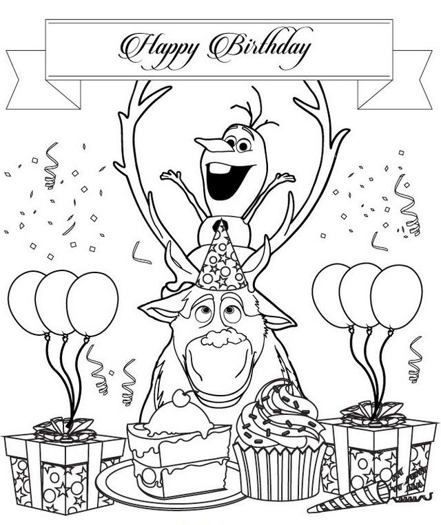 olaf birthday coloring sheet