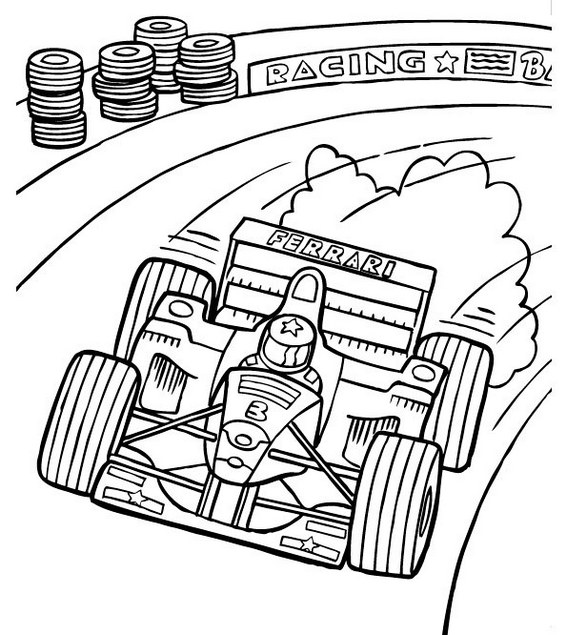 racing car formula one coloring printable page
